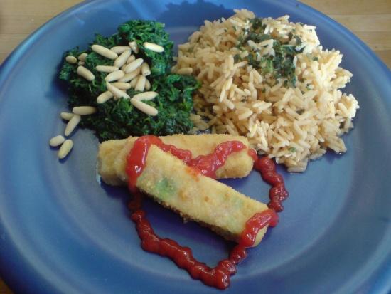 Reis, Spinat und blasse Gemüsestäbchen ;)