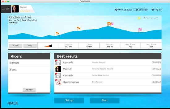 Der Simulator zeigt die Streckendetails vor dem Start