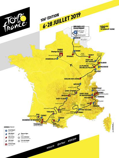 Tour de France 2019: das sind die Etappen auf einer Karte!