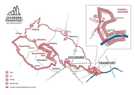 Der Kurs des WorldTour-Rennens mit der neuen Main-Schleife