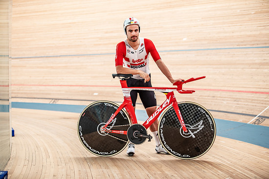 "Victor Campenaerts mit dem Ridley Arena TT a.k.a ""Flying Moustache"""