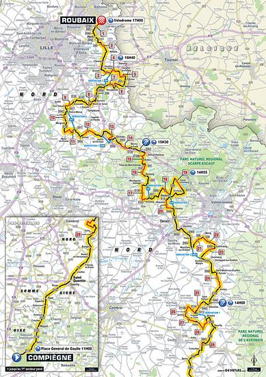 Die Strecke von Paris Roubaix