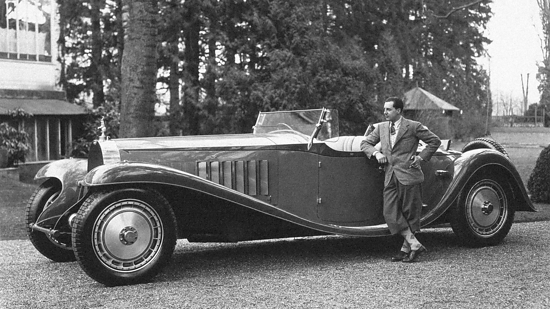 Jean Bugatti next to the Type 41 Royale Esders Roadster