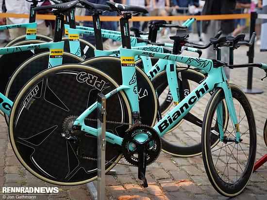 Die Mechaniker beteuerten, dass alle Fahrer identisch ausgestattete Bikes fahren – so sieht also auch das Rad von Tony Martin aus