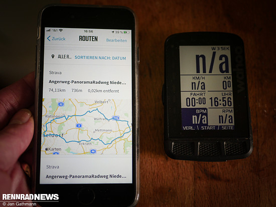 In der Wahoo Elemnt-App kann man dann die entsprechene Route finden …