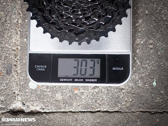 Das Ritzelpaket mit dem 36er Rettungsring wiegt 303 g