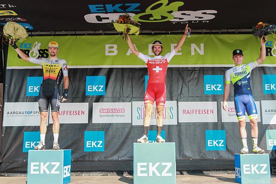 Podest Elite Rennen von links, Baestaens, Forster, Kuhn
