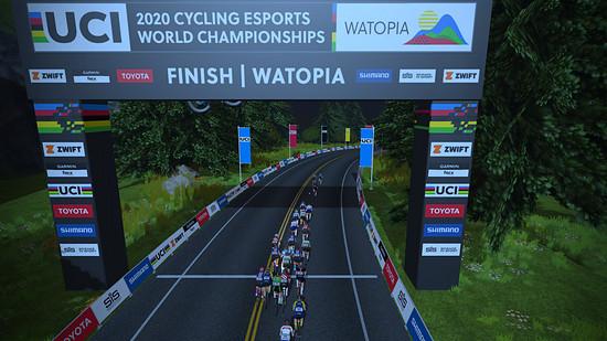 ...die ersten Cycling Esports Weltmeisterschaften auf Zwift