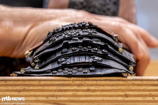 Die dicke der Gummischicht entscheidet mit über Laufleistung und Pannenschutz