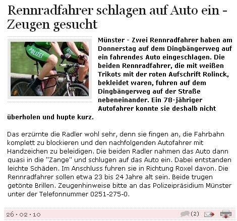 """""""Rennradfahrer schlagen auf Auto ein..."""""""
